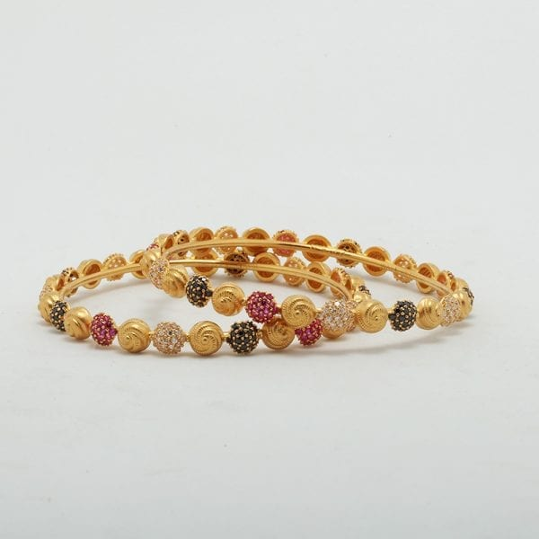 Fancy Casting Bangles With Multi Colored Cz Stone Prong Setting Work